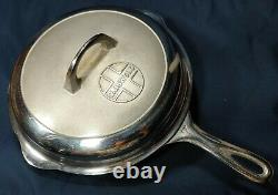 1930s GRISWOLD #7, Cast Iron Skillet with Lid Chrome Plate LARGE BLOCK LOGO