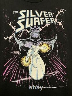 1991 Vintage Marvel The Silver Surfer Thanos T Shirt LARGE Talking Tops FOTL Tag