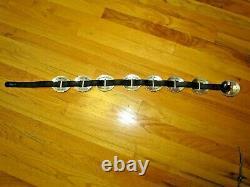 1993 BRIGHTON Silver Sunflower Concho Black Leather BELT Size LARGE Vintage