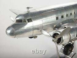 38 Large Silver Metal Dakota DC-3 Airplane Aviation Decor by Authentic Models