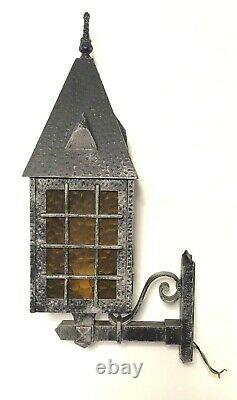 3 VTG Silver Metal Spanish Colonial Gothic Amber Faux Glass Light Fixture Sconce