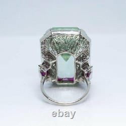 925 Silver Vintage Antique Art Deco Large Aquamarine Anniversary Ring 58.22 CT