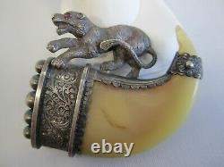 ANTIQUE VICTORIAN LARGE SILVER CLAW PIN WITH A WILD CAT and RUBY EYE