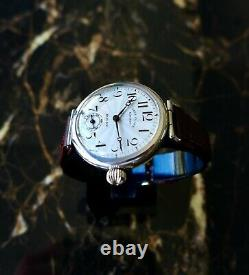 A Rare Vintage 1922 Large Size Gents Military Rolex Trench Wristwatch In Silver