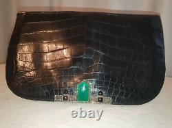 Amazimg 1930s large French art deco crocodile skin clutch marcasite on silver