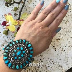 Amazing Vintage Sterling Silver Turquoise Cluster Cuff Large Cuff