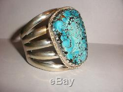 Amazing Vintage large turquoise Navajo sterling silver bracelet