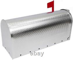 American Vintage Mailbox Aluminium US Mail Post Letter Box With Folding Red Flag
