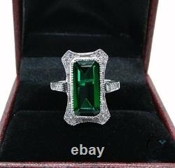 Antique 6 Ct Large Emerald Cut Engagement Art Deco Ring 925 Sterling Silver