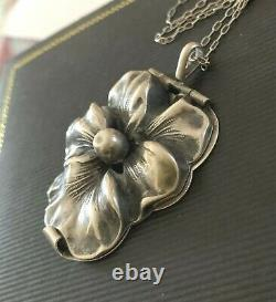 Antique Art Nouveau Sterling Silver Pansy Flower Large Locket & Chain