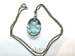 Antique Edwardian Sterling Silver LARGE Sky Blue Topaz Paste Pendant Necklace
