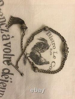 Antique English Solid Silver Albertina Chain Bracelet Large Tassel Charm Fob