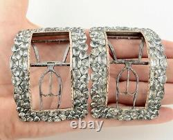 Antique Georgian Large Silver And Rose Gold With Paste Stones Shoe Buckles