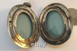 Antique Guilloche Enameled Sterling Silver Repousse Locket Large Pendant