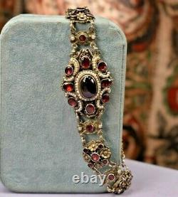 Antique Hungarian 900 silver bohemian garnet pearl large carbuncle bracelet
