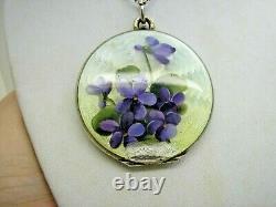 Antique Large Silver Gilt Flower Enamel Opening Locket & 17 Silver Chain