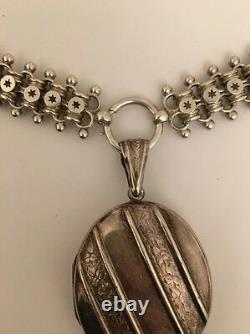 Antique Large Victorian Silver Locket And Collar Set