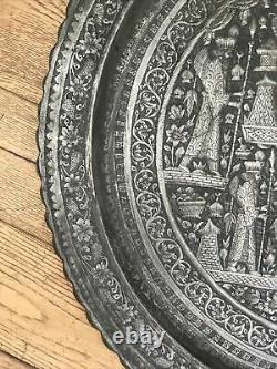Antique Persian Zoroastrian intriguing mix symbols Large silver Damascus Tray