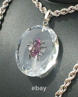 Antique Rock Crystal Natural Amethyst Insect Bug S/SILVER 20 Necklace Large 23g