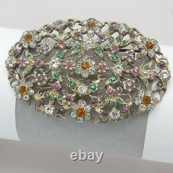 Antique Victorian 2.5 Giardinetti Flower Paste Sterling Silver Large Brooch Pin