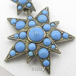 Antique Victorian 800 Silver Persian Turquoise Glass Triple Star Large Pendant