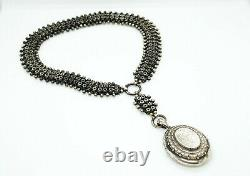 Antique Victorian Aesthetic Silver Star Floral Book Chain with Large Locket, 17
