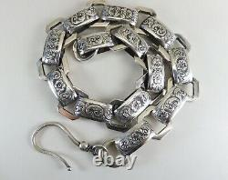 Antique Victorian Floral Stamped Silver Book Chain Necklace With Large Hook Clasp
