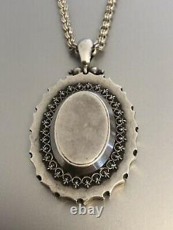 Antique Victorian Large Silver Locket And Chain Beautiful C. 1880 Freepost Uk