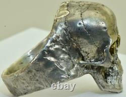 Antique Victorian antique silver, gold&Rubies Skull Memento Mori large mens ring