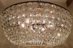 Antique Vintage Brass & Crystals Low Ceiling GIANT Chandelier Lamp Light 23.6 Ø