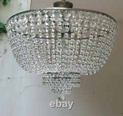 Antique Vintage Brass & Crystals Low Ceiling GIANT Chandelier Lighting Lamp