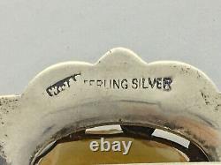 Antique Vintage Sterling Silver Large Citrine & Agate Scottish Brooch