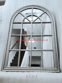Arch Window Mirror Silver Antique Style Large 80x120cm Shabby Chic Wall Hung