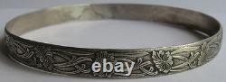 Art Nouveau Beauty Vintage Sterling Silver Floral Large Wrist Bangle Bracelet