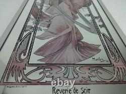 Art Nouveau Vintage Mirror Alphonse Mucha Reverie De Soir Large Interior Design