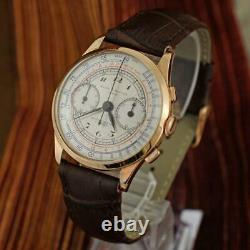 Authentic Baume Mercier Chronograph 18k Solid Gold Large Swiss Made Gents Watch