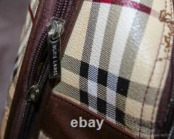 Authentic Vintage Burberry Haymarket Rolling Luggage Bag Beautiful
