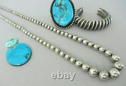 Authentic Vintage LARGE Navajo Pearl Bead Sterling Silver 24.25 Necklace 44g