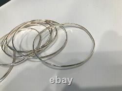 Awesome Silver Sterling Bangle Bracelets Large lot of 7 Mexico 925 Vintage Boho