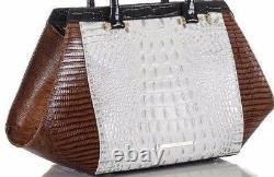 Brahmin Arden Satchel White Halo Amado Black Brown Leather Silver Croc Sugar