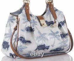 Brahmin Elisa Hobo Blue Copa Cabana White Silver Satchel Palm Cars Collectors