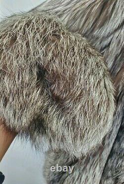 Bullock's Silver Fox Fur Coat Jacket Large