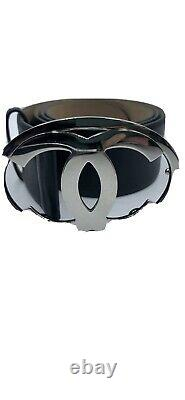 CHANEL large Silver CC Logo black leather belt vintage. Size 90/36 PREOWNED