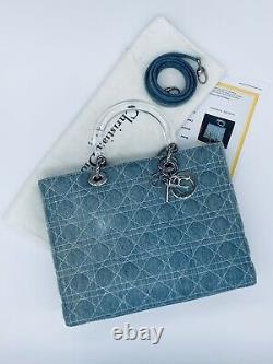 CHRISTIAN DIOR Lady Cannage Denim Jean Handbag LARGE certified authentic VINTAGE