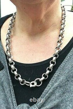 Chain Necklace Large Rolo Link Chain Silver Sterling 925 Vintage (1247J)