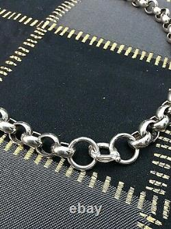 Chain Necklace Very Large Rolo Link Chain Silver Sterling 925 Vintage (1247J)