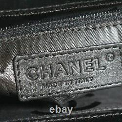 Chanel Rare Collectors CC Clutch Frame Bag Black Satin Evening Vintage Silver