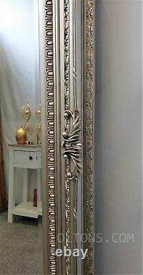 Chantelle Large Antique Ornate Champagne Silver Vintage Leaner Mirror 172x86cm