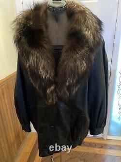 EUC Vtg Marvin Richards Black Leather Jacket Coat BROWN/ SILVER TIP FOX L USA