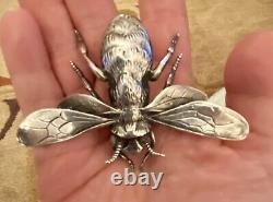 Estate Vintage Unusual CINI Sterling Silver Bee Bug Pin Brooch Very Large Rare